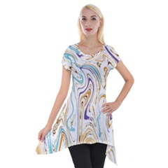 Abstract Marble 3 Short Sleeve Side Drop Tunic by tarastyle