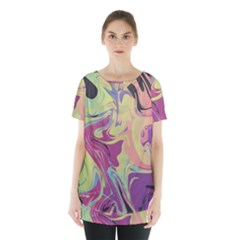 Abstract Marble 8 Skirt Hem Sports Top by tarastyle