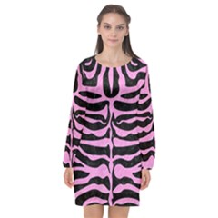 Skin2 Black Marble & Pink Colored Pencil (r) Long Sleeve Chiffon Shift Dress