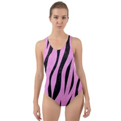 Skin3 Black Marble & Pink Colored Pencil Cut Out Back One Piece Swimsuit