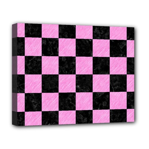 Square1 Black Marble & Pink Colored Pencil Deluxe Canvas 20  X 16   by trendistuff