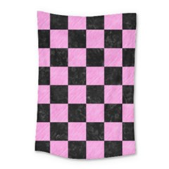 Square1 Black Marble & Pink Colored Pencil Small Tapestry by trendistuff