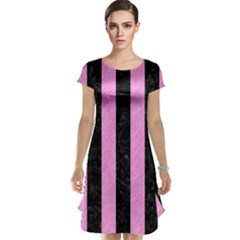 Stripes1 Black Marble & Pink Colored Pencil Cap Sleeve Nightdress