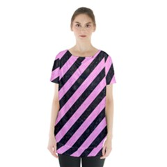 Stripes3 Black Marble & Pink Colored Pencil (r) Skirt Hem Sports Top