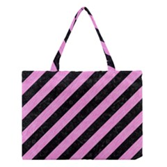 Stripes3 Black Marble & Pink Colored Pencil (r) Medium Tote Bag by trendistuff