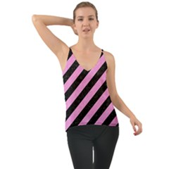Stripes3 Black Marble & Pink Colored Pencil (r) Cami