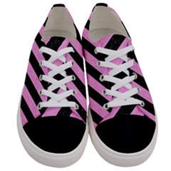 Stripes3 Black Marble & Pink Colored Pencil (r) Women s Low Top Canvas Sneakers