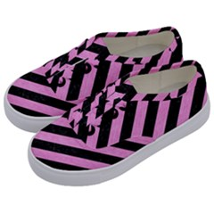 Stripes3 Black Marble & Pink Colored Pencil (r) Kids  Classic Low Top Sneakers by trendistuff