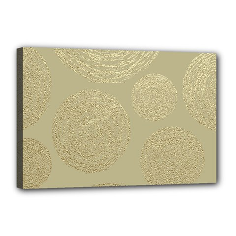 Modern, Gold,polka Dots, Metallic,elegant,chic,hand Painted, Beautiful,contemporary,deocrative,decor Canvas 18  X 12