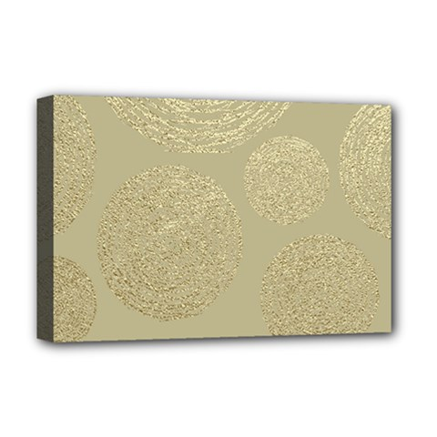 Modern, Gold,polka Dots, Metallic,elegant,chic,hand Painted, Beautiful,contemporary,deocrative,decor Deluxe Canvas 18  X 12