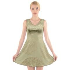 Modern, Gold,polka Dots, Metallic,elegant,chic,hand Painted, Beautiful,contemporary,deocrative,decor V Neck Sleeveless Skater Dress