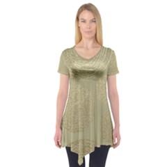 Modern, Gold,polka Dots, Metallic,elegant,chic,hand Painted, Beautiful,contemporary,deocrative,decor Short Sleeve Tunic