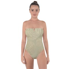 Modern, Gold,polka Dots, Metallic,elegant,chic,hand Painted, Beautiful,contemporary,deocrative,decor Tie Back One Piece Swimsuit