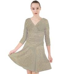 Modern, Gold,polka Dots, Metallic,elegant,chic,hand Painted, Beautiful,contemporary,deocrative,decor Quarter Sleeve Front Wrap Dress