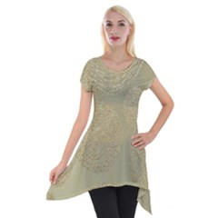 Modern, Gold,polka Dots, Metallic,elegant,chic,hand Painted, Beautiful,contemporary,deocrative,decor Short Sleeve Side Drop Tunic
