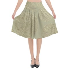 Modern, Gold,polka Dots, Metallic,elegant,chic,hand Painted, Beautiful,contemporary,deocrative,decor Flared Midi Skirt