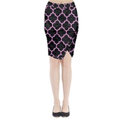 Tile1 Black Marble & Pink Colored Pencil (r) Midi Wrap Pencil Skirt