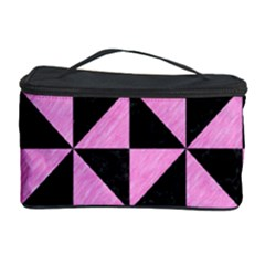 Triangle1 Black Marble & Pink Colored Pencil Cosmetic Storage Case by trendistuff