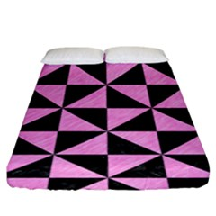 Triangle1 Black Marble & Pink Colored Pencil Fitted Sheet (king Size) by trendistuff
