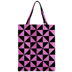 Triangle1 Black Marble & Pink Colored Pencil Zipper Classic Tote Bag by trendistuff