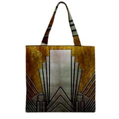 Art Nouveau Gold Silver Zipper Grocery Tote Bag by 8fugoso