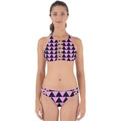 Triangle2 Black Marble & Pink Colored Pencil Perfectly Cut Out Bikini Set