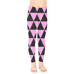 Triangle3 Black Marble & Pink Colored Pencil Kids  Legging by trendistuff