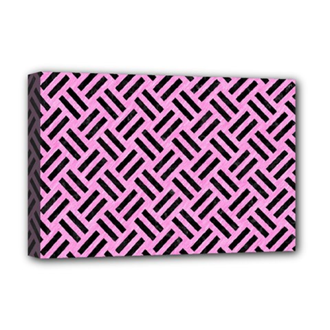 Woven2 Black Marble & Pink Colored Pencil Deluxe Canvas 18  X 12   by trendistuff