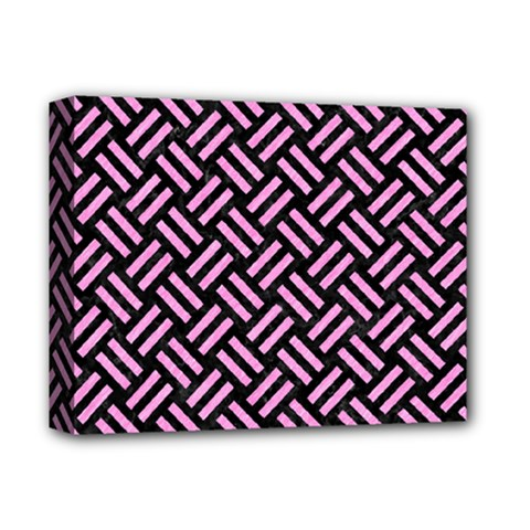 Woven2 Black Marble & Pink Colored Pencil (r) Deluxe Canvas 14  X 11  by trendistuff