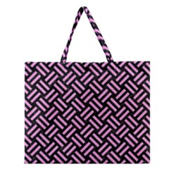 Woven2 Black Marble & Pink Colored Pencil (r) Zipper Large Tote Bag by trendistuff