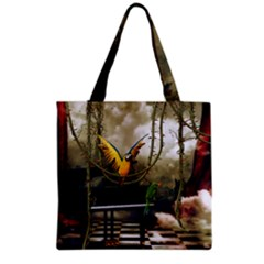 Funny Parrots In A Fantasy World Grocery Tote Bag by FantasyWorld7