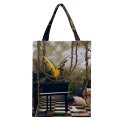 Funny Parrots In A Fantasy World Classic Tote Bag by FantasyWorld7