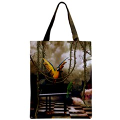 Funny Parrots In A Fantasy World Zipper Classic Tote Bag by FantasyWorld7