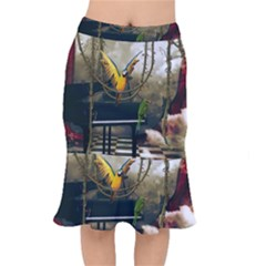 Funny Parrots In A Fantasy World Mermaid Skirt by FantasyWorld7