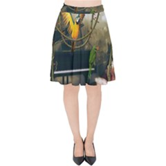 Funny Parrots In A Fantasy World Velvet High Waist Skirt
