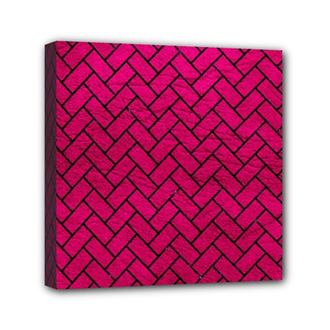 Brick2 Black Marble & Pink Leather Mini Canvas 6  X 6  by trendistuff