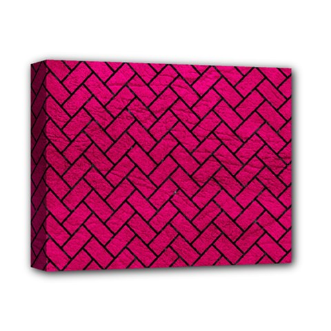 Brick2 Black Marble & Pink Leather Deluxe Canvas 14  X 11  by trendistuff
