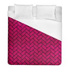 Brick2 Black Marble & Pink Leather Duvet Cover (full/ Double Size) by trendistuff