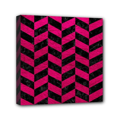 Chevron1 Black Marble & Pink Leather Mini Canvas 6  X 6  by trendistuff