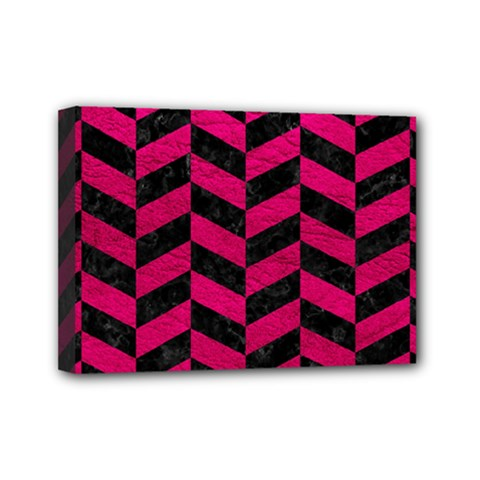 Chevron1 Black Marble & Pink Leather Mini Canvas 7  X 5  by trendistuff