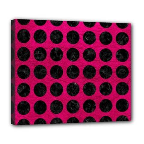 Circles1 Black Marble & Pink Leather Deluxe Canvas 24  X 20   by trendistuff