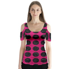 Circles1 Black Marble & Pink Leather Butterfly Sleeve Cutout Tee