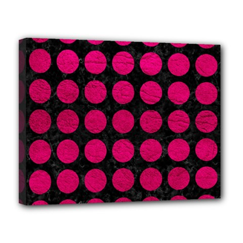 Circles1 Black Marble & Pink Leather (r) Canvas 14  X 11  by trendistuff