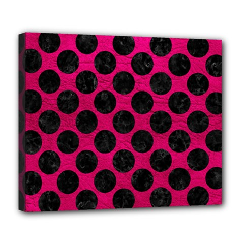 Circles2 Black Marble & Pink Leather Deluxe Canvas 24  X 20   by trendistuff
