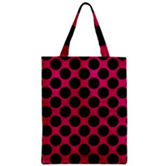 Circles2 Black Marble & Pink Leather Zipper Classic Tote Bag by trendistuff