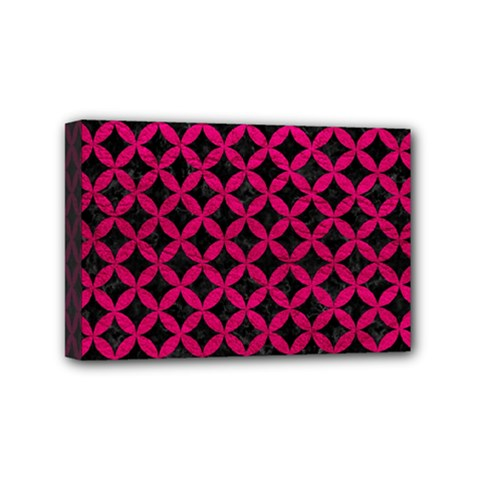 Circles3 Black Marble & Pink Leather (r) Mini Canvas 6  X 4  by trendistuff