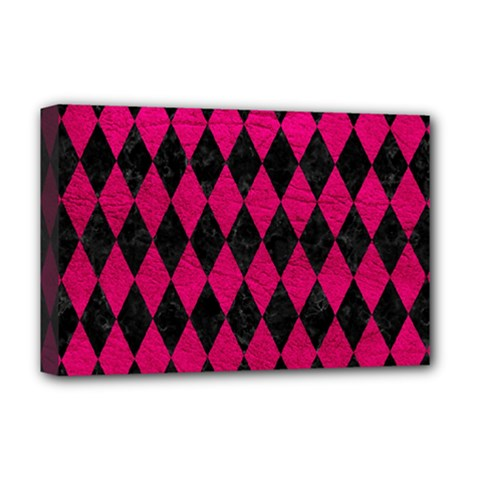 Diamond1 Black Marble & Pink Leather Deluxe Canvas 18  X 12   by trendistuff