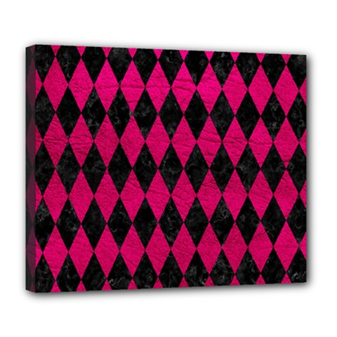 Diamond1 Black Marble & Pink Leather Deluxe Canvas 24  X 20   by trendistuff
