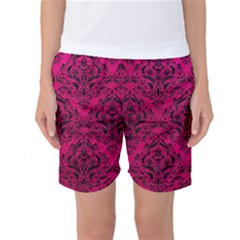 Damask1 Black Marble & Pink Leather Women s Basketball Shorts by trendistuff