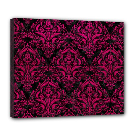 Damask1 Black Marble & Pink Leather (r) Deluxe Canvas 24  X 20   by trendistuff
